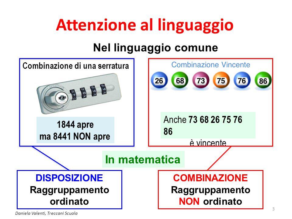 Attenzione al linguaggio Daniela Valenti, Treccani Scuola 3 Nel linguaggio comune Combinazione di una serratura In matematica COMBINAZIONE Raggruppame