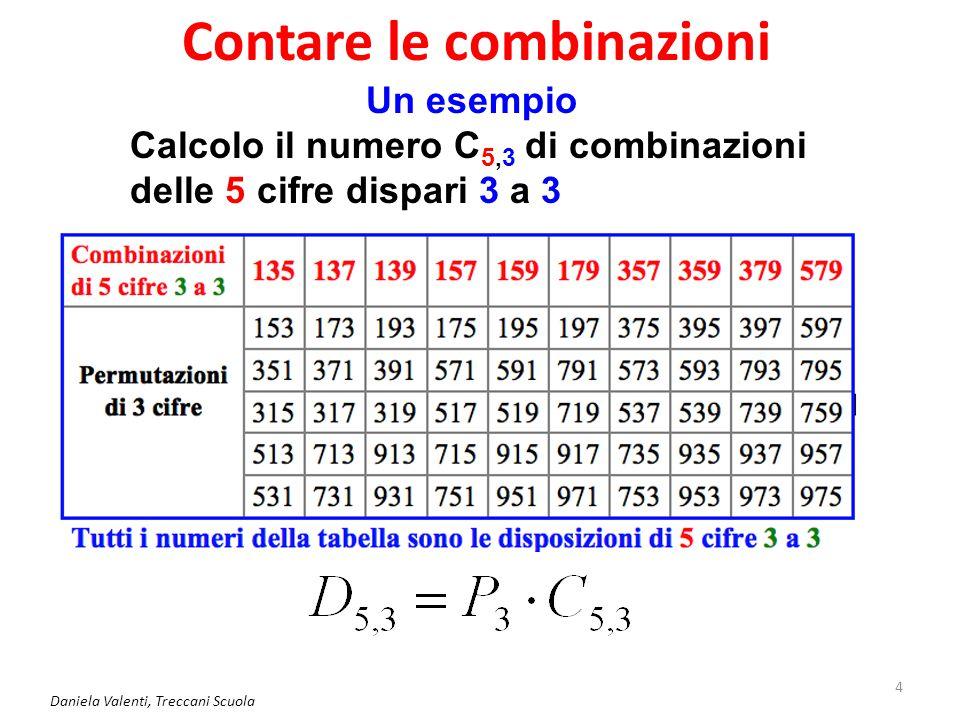 Contare le combinazioni Daniela Valenti, Treccani Scuola 4 Un esempio Calcolo il numero C 5,3 di combinazioni delle 5 cifre dispari 3 a 3