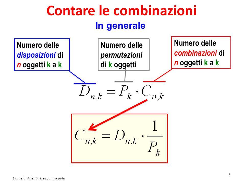 Contare le combinazioni Daniela Valenti, Treccani Scuola 5 In generale Numero delle disposizioni di n oggetti k a k Numero delle permutazioni di k oggetti Numero delle combinazioni di n oggetti k a k
