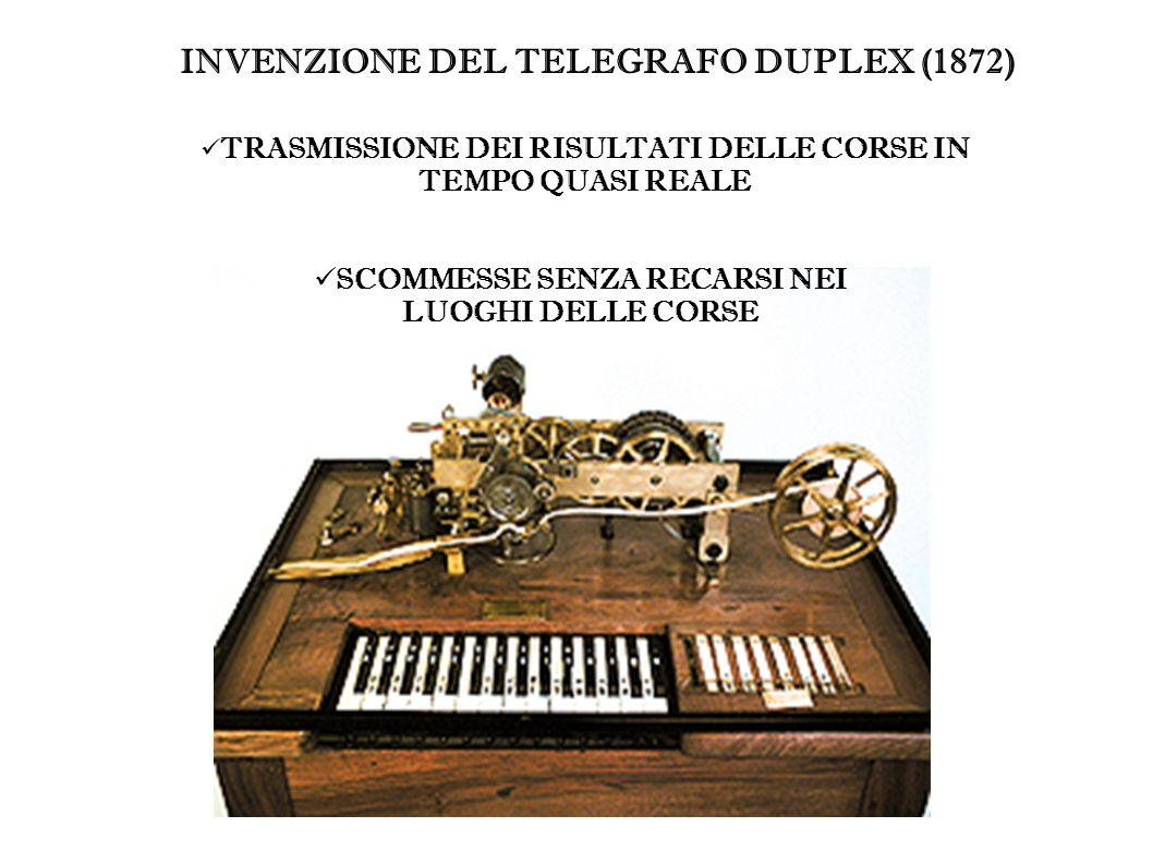 INVENZIONE DEL TELEGRAFO DUPLEX (1872) TRASMISSIONE DEI RISULTATI DELLE CORSE IN TEMPO QUASI REALE SCOMMESSE SENZA RECARSI NEI LUOGHI DELLE CORSE