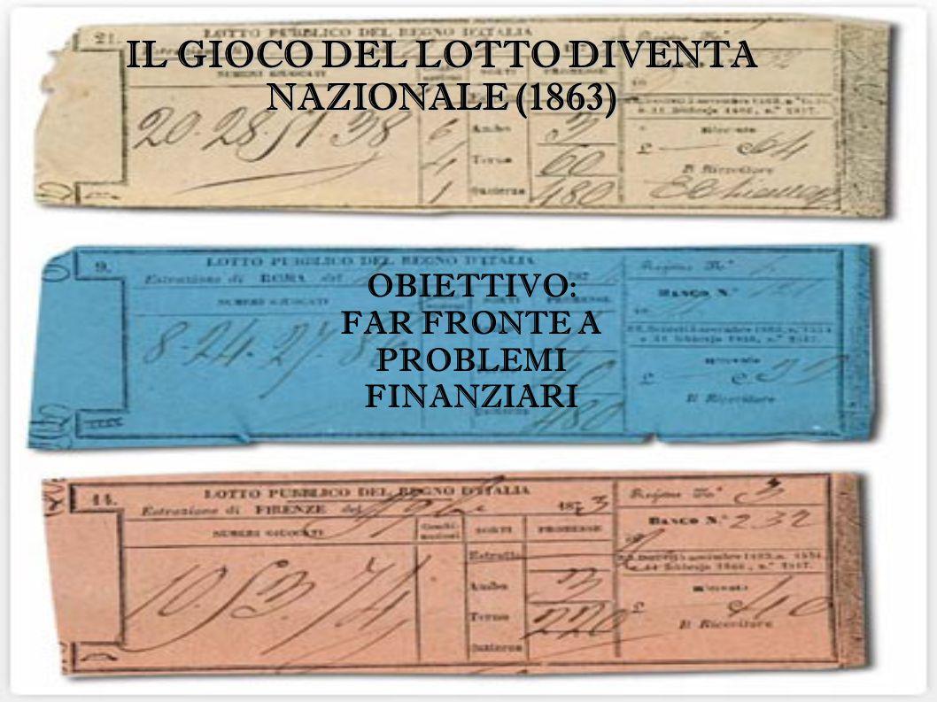 OBIETTIVO: FAR FRONTE A PROBLEMI FINANZIARI IL GIOCO DEL LOTTO DIVENTA NAZIONALE (1863)