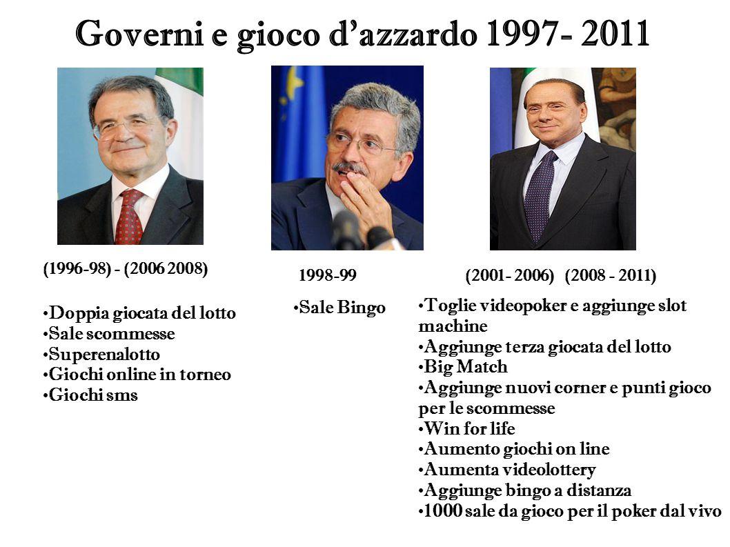 Governi e gioco d'azzardo 1997- 2011 (1996-98) - (2006 2008) 1998-99(2001- 2006) (2008 - 2011) Doppia giocata del lotto Sale scommesse Superenalotto G
