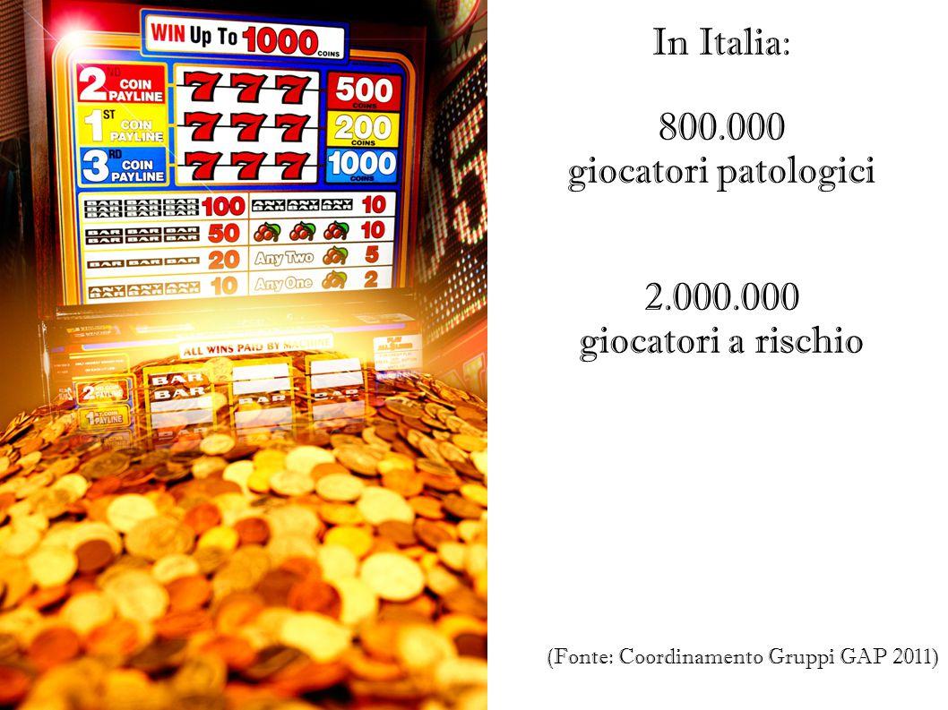 IL FENOMENO IN CIFRE In Italia: 800.000 giocatori patologici 2.000.000 giocatori a rischio (Fonte: Coordinamento Gruppi GAP 2011)
