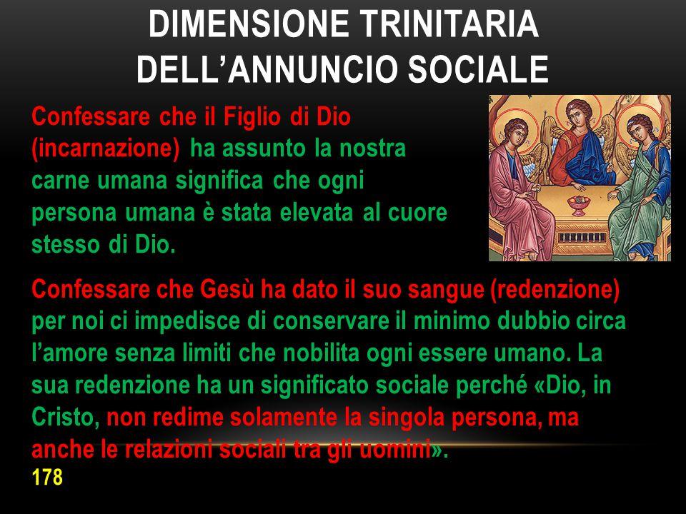DIMENSIONE TRINITARIA DELL'ANNUNCIO SOCIALE Confessare che il Figlio di Dio (incarnazione) ha assunto la nostra carne umana significa che ogni persona