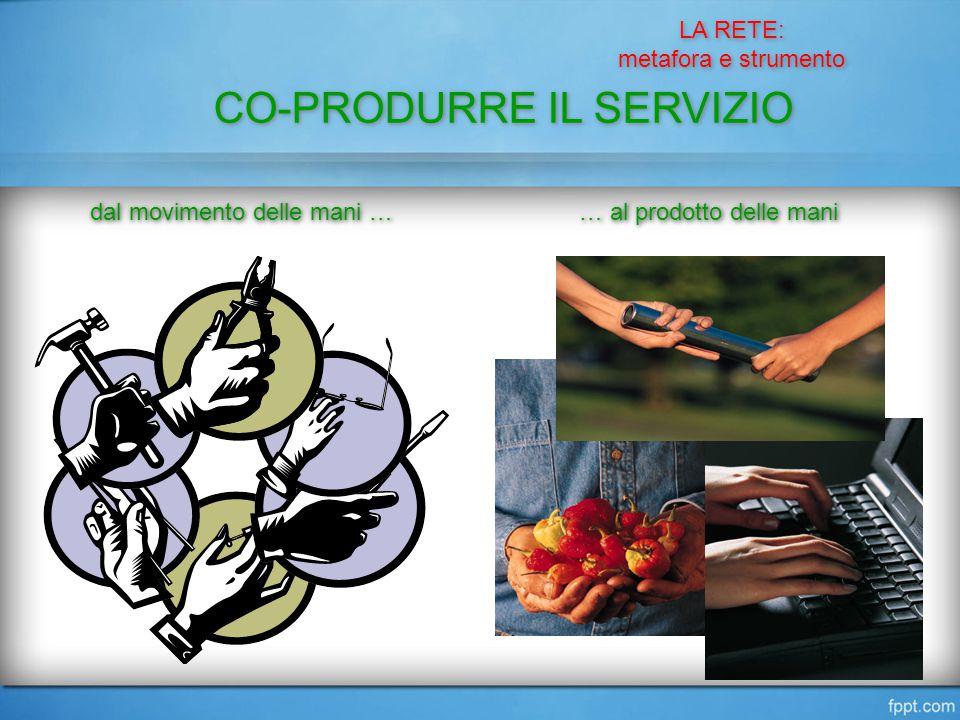 LA RETE: metafora e strumento LA RETE: metafora e strumento CO-PRODURRE IL SERVIZIO dal movimento delle mani … … al prodotto delle mani