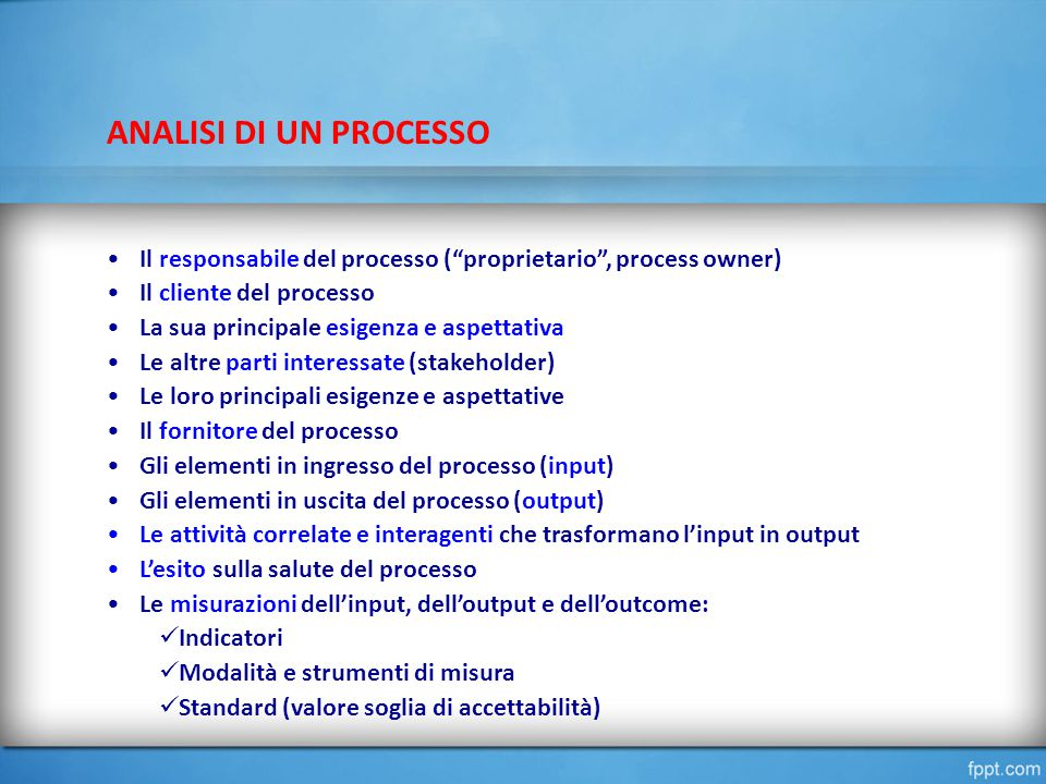 ANALISI DI UN PROCESSO Il responsabile del processo ( proprietario , process owner) Il cliente del processo La sua principale esigenza e aspettativa Le altre parti interessate (stakeholder) Le loro principali esigenze e aspettative Il fornitore del processo Gli elementi in ingresso del processo (input) Gli elementi in uscita del processo (output) Le attività correlate e interagenti che trasformano l'input in output L'esito sulla salute del processo Le misurazioni dell'input, dell'output e dell'outcome: Indicatori Modalità e strumenti di misura Standard (valore soglia di accettabilità)