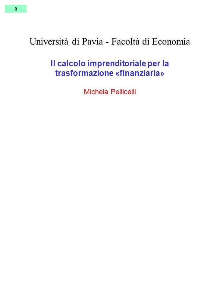 0 Università di Pavia - Facoltà di Economia Il calcolo imprenditoriale per la trasformazione «finanziaria» Michela Pellicelli