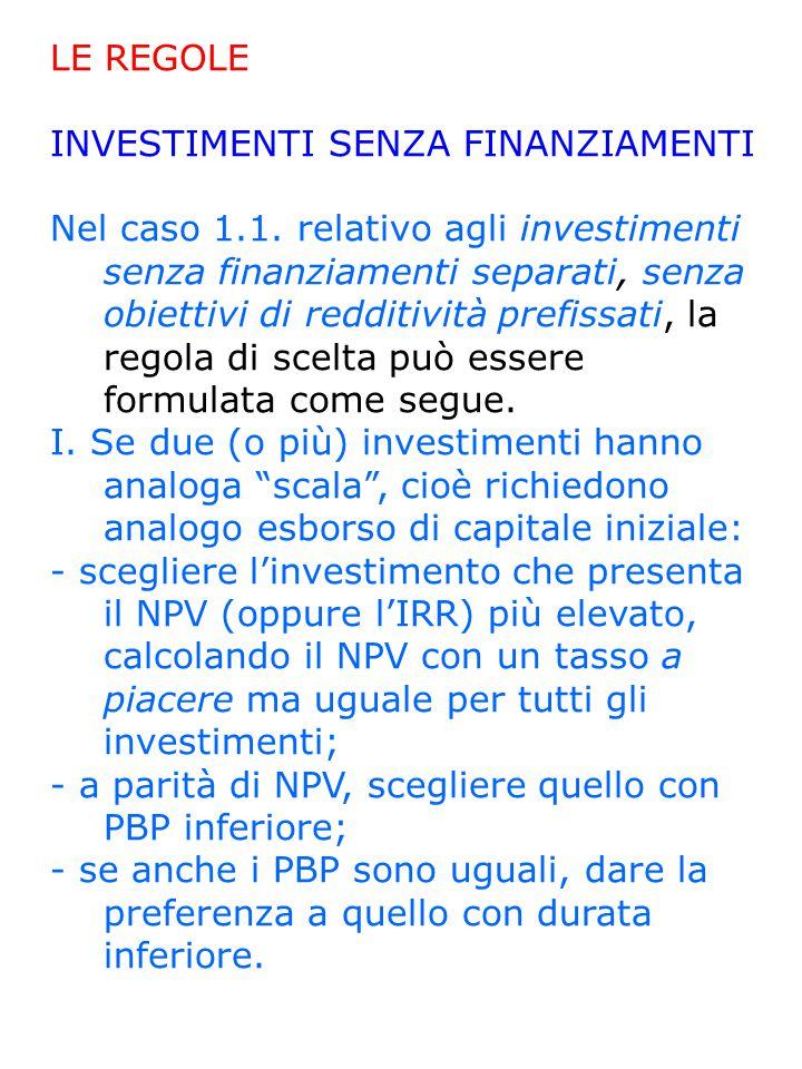 LE REGOLE INVESTIMENTI SENZA FINANZIAMENTI Nel caso 1.1.