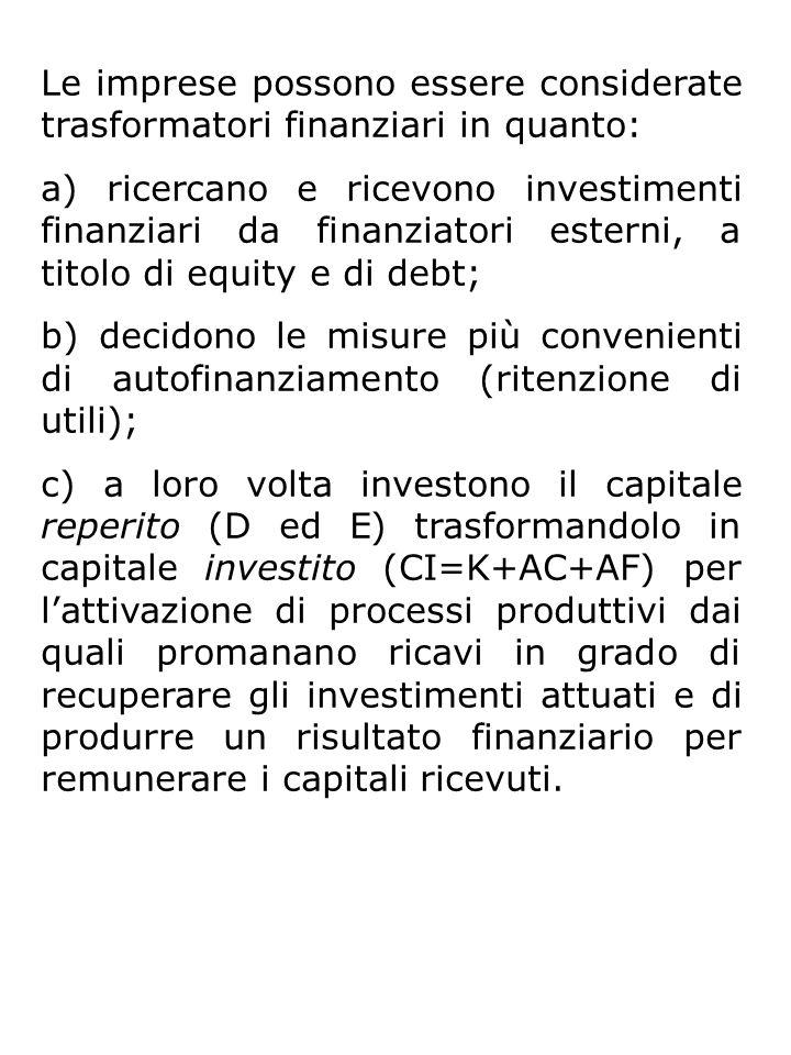 Le imprese possono essere considerate trasformatori finanziari in quanto: a) ricercano e ricevono investimenti finanziari da finanziatori esterni, a titolo di equity e di debt; b) decidono le misure più convenienti di autofinanziamento (ritenzione di utili); c) a loro volta investono il capitale reperito (D ed E) trasformandolo in capitale investito (CI=K+AC+AF) per l'attivazione di processi produttivi dai quali promanano ricavi in grado di recuperare gli investimenti attuati e di produrre un risultato finanziario per remunerare i capitali ricevuti.