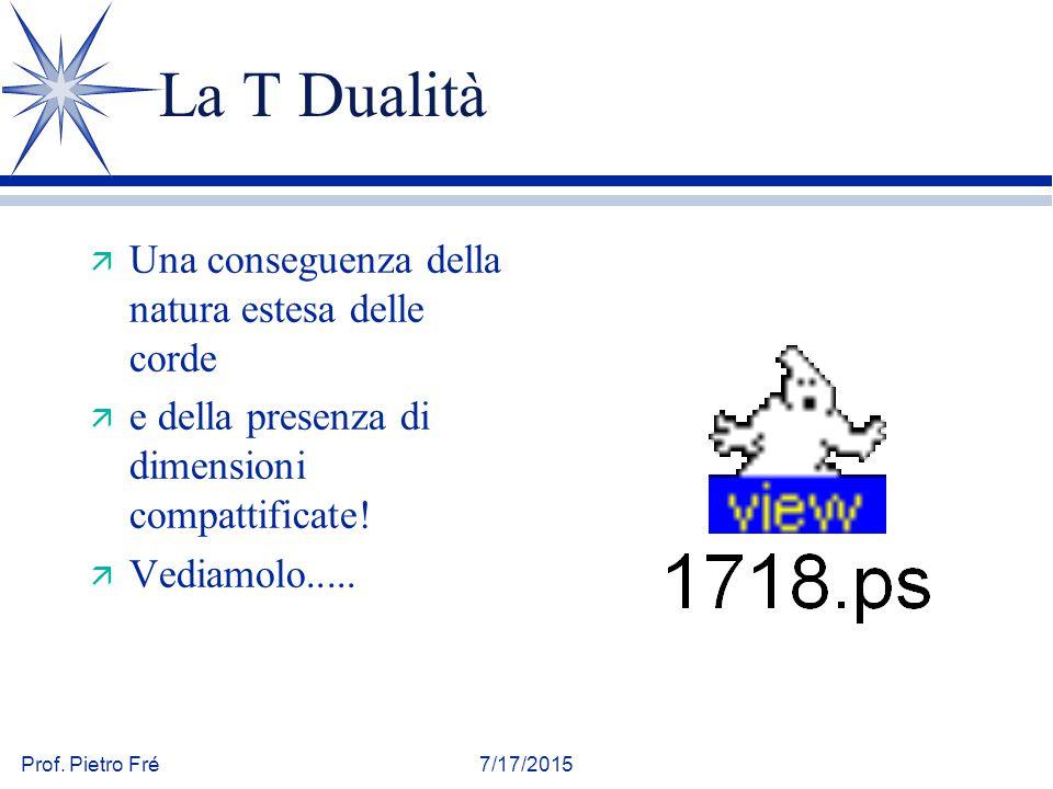 Prof. Pietro Fré7/17/2015 La T Dualità ä Una conseguenza della natura estesa delle corde ä e della presenza di dimensioni compattificate! ä Vediamolo.