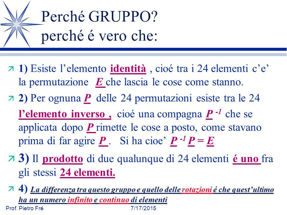 Prof. Pietro Fré7/17/2015 Perché GRUPPO? perché é vero che: ä 1) Esiste l'elemento identità, cioé tra i 24 elementi c'e' la permutazione E che lascia