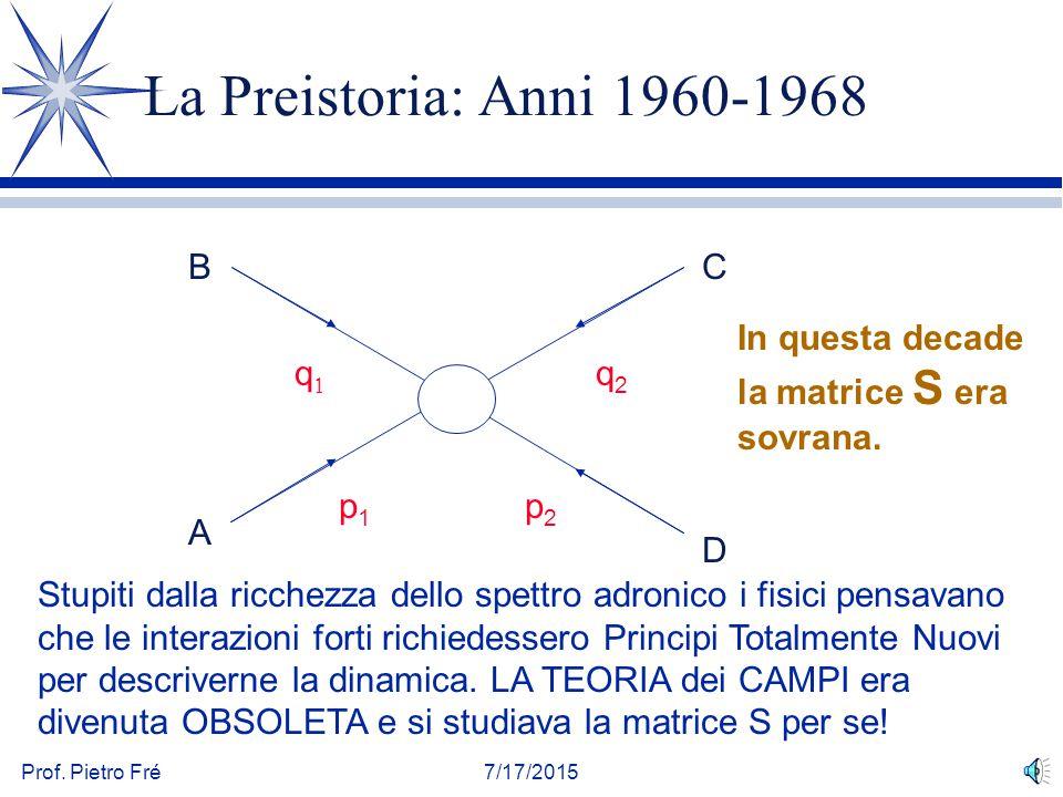 Prof. Pietro Fré7/17/2015 La Preistoria: Anni 1960-1968 qq q2q2 p1p1 p2p2 B A C D In questa decade la matrice S era sovrana. Stupiti dalla ricchezza