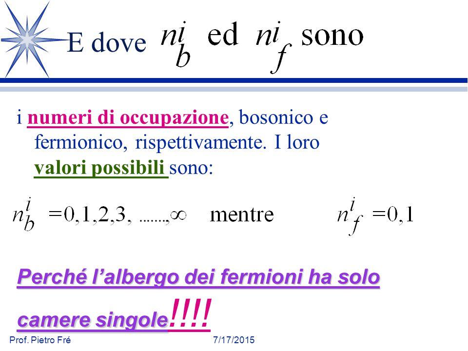 Prof. Pietro Fré7/17/2015 E dove i numeri di occupazione, bosonico e fermionico, rispettivamente. I loro valori possibili sono: Perché l'albergo dei f