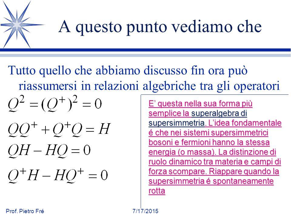 Prof. Pietro Fré7/17/2015 A questo punto vediamo che Tutto quello che abbiamo discusso fin ora può riassumersi in relazioni algebriche tra gli operato