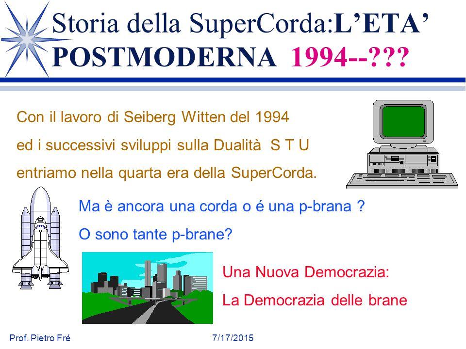 Prof. Pietro Fré7/17/2015 Storia della SuperCorda:L'ETA' POSTMODERNA 1994--??? Con il lavoro di Seiberg Witten del 1994 ed i successivi sviluppi sulla