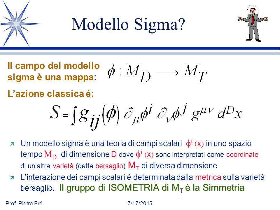 Prof. Pietro Fré7/17/2015 Modello Sigma?  Un modello sigma è una teoria di campi scalari  i  x  in uno spazio tempo M D di dimensione D dove  i