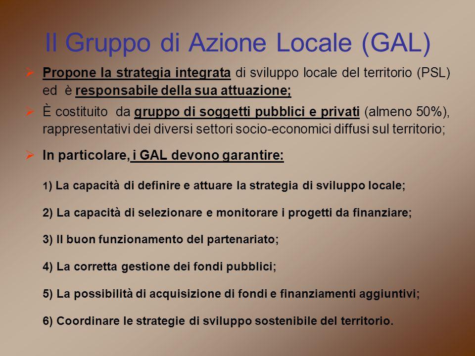 Il Gruppo di Azione Locale (GAL)  Propone la strategia integrata di sviluppo locale del territorio (PSL) ed è responsabile della sua attuazione;  È costituito da gruppo di soggetti pubblici e privati (almeno 50%), rappresentativi dei diversi settori socio-economici diffusi sul territorio;  In particolare, i GAL devono garantire: 1 ) La capacità di definire e attuare la strategia di sviluppo locale; 2) La capacità di selezionare e monitorare i progetti da finanziare; 3) Il buon funzionamento del partenariato; 4) La corretta gestione dei fondi pubblici; 5) La possibilità di acquisizione di fondi e finanziamenti aggiuntivi; 6) Coordinare le strategie di sviluppo sostenibile del territorio.