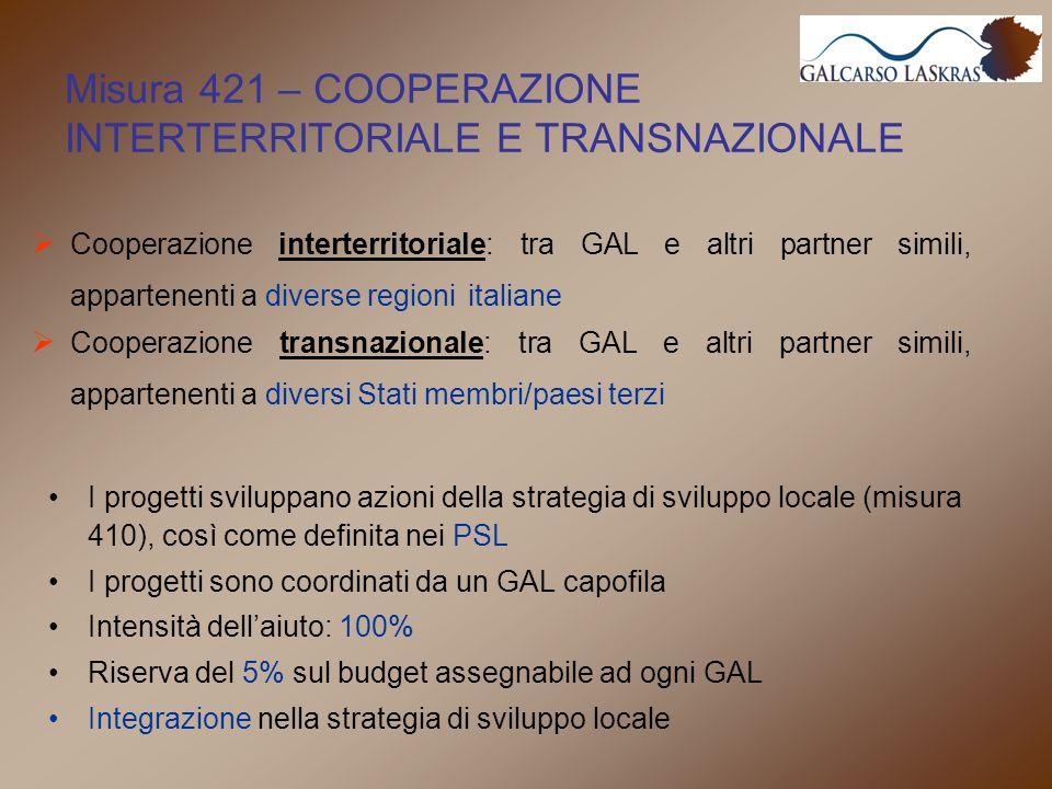 I progetti sviluppano azioni della strategia di sviluppo locale (misura 410), così come definita nei PSL I progetti sono coordinati da un GAL capofila Intensità dell'aiuto: 100% Riserva del 5% sul budget assegnabile ad ogni GAL Integrazione nella strategia di sviluppo locale Misura 421 – COOPERAZIONE INTERTERRITORIALE E TRANSNAZIONALE  Cooperazione interterritoriale: tra GAL e altri partner simili, appartenenti a diverse regioni italiane  Cooperazione transnazionale: tra GAL e altri partner simili, appartenenti a diversi Stati membri/paesi terzi