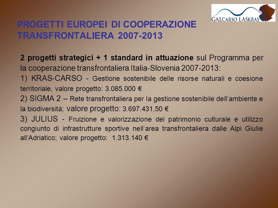PROGETTI EUROPEI DI COOPERAZIONE TRANSFRONTALIERA 2007-2013 2 progetti strategici + 1 standard in attuazione sul Programma per la cooperazione transfrontaliera Italia-Slovenia 2007-2013: 1) KRAS-CARSO - Gestione sostenibile delle risorse naturali e coesione territoriale, valore progetto: 3.085.000 € 2) SIGMA 2 – Rete transfrontaliera per la gestione sostenibile dell'ambiente e la biodiversità; valore progetto: 3.697.431,50 € 3) JULIUS - Fruizione e valorizzazione del patrimonio culturale e utilizzo congiunto di infrastrutture sportive nell'area transfrontaliera dalle Alpi Giulie all'Adriatico; valore progetto: 1.313.140 €