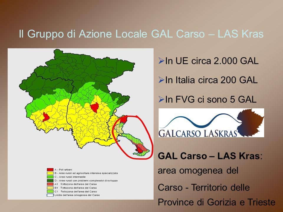 Il Gruppo di Azione Locale GAL Carso – LAS Kras Carso Comuni Zona D Comuni Zona C non compresi  In UE circa 2.000 GAL  In Italia circa 200 GAL  In FVG ci sono 5 GAL GAL Carso – LAS Kras: area omogenea del Carso - Territorio delle Province di Gorizia e Trieste