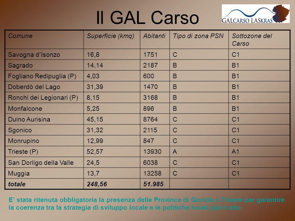 Il GAL Carso E' stata ritenuta obbligatoria la presenza delle Province di Gorizia e Trieste per garantire la coerenza tra la strategia di sviluppo locale e le politiche locali già in atto ComuneSuperficie (kmq)AbitantiTipo di zona PSNSottozone del Carso Savogna d'Isonzo16,81751CC1 Sagrado14,142187BB1 Fogliano Redipuglia (P)4,03600BB1 Doberdò del Lago31,391470BB1 Ronchi dei Legionari (P)8,153168BB1 Monfalcone5,25896BB1 Duino Aurisina45,158764CC1 Sgonico31,322115CC1 Monrupino12,99847CC1 Trieste (P)52,5713930AA1 San Dorligo della Valle24,56038CC1 Muggia13,713258CC1 totale248,5651.985