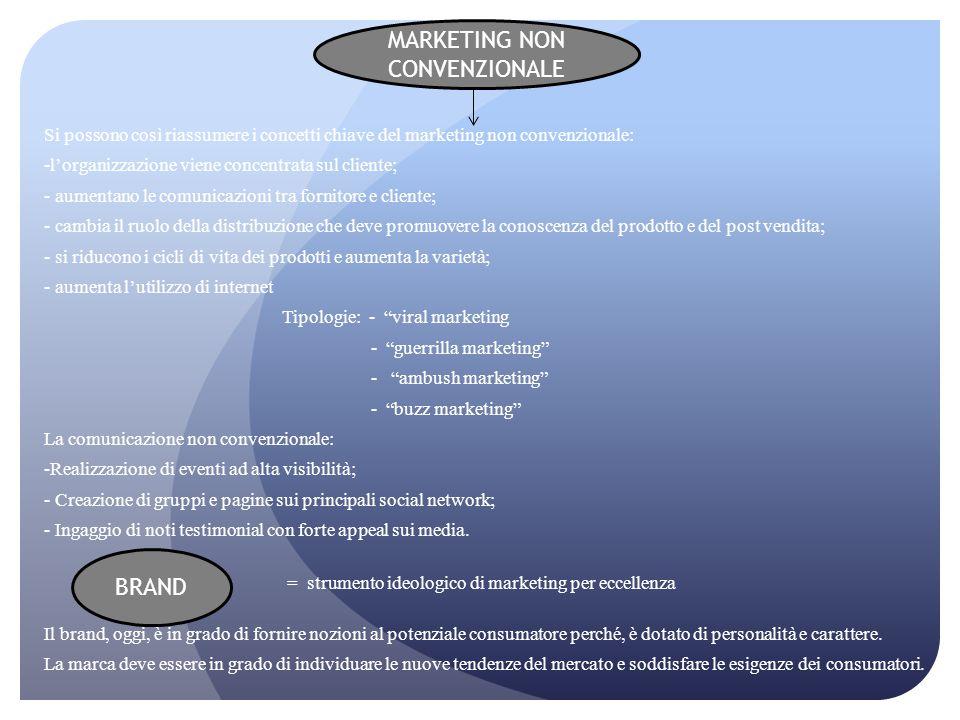 Si possono così riassumere i concetti chiave del marketing non convenzionale: -l'organizzazione viene concentrata sul cliente; - aumentano le comunica