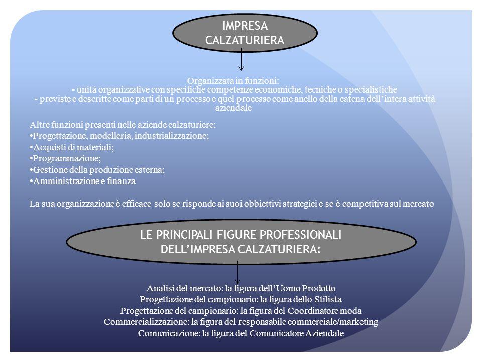 IMPRESA CALZATURIERA Organizzata in funzioni: - unità organizzative con specifiche competenze economiche, tecniche o specialistiche - previste e descr