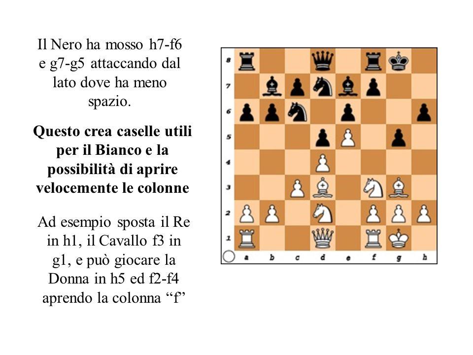 Il Nero ha mosso h7-f6 e g7-g5 attaccando dal lato dove ha meno spazio.