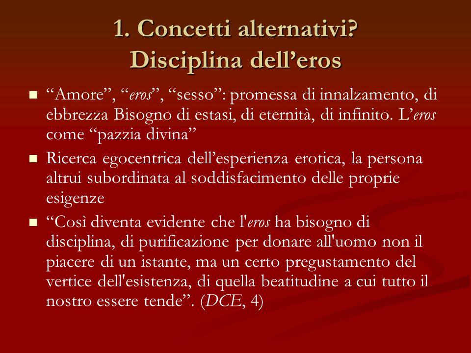 """1. Concetti alternativi? Disciplina dell'eros """"Amore"""", """"eros"""", """"sesso"""": promessa di innalzamento, di ebbrezza Bisogno di estasi, di eternità, di infin"""