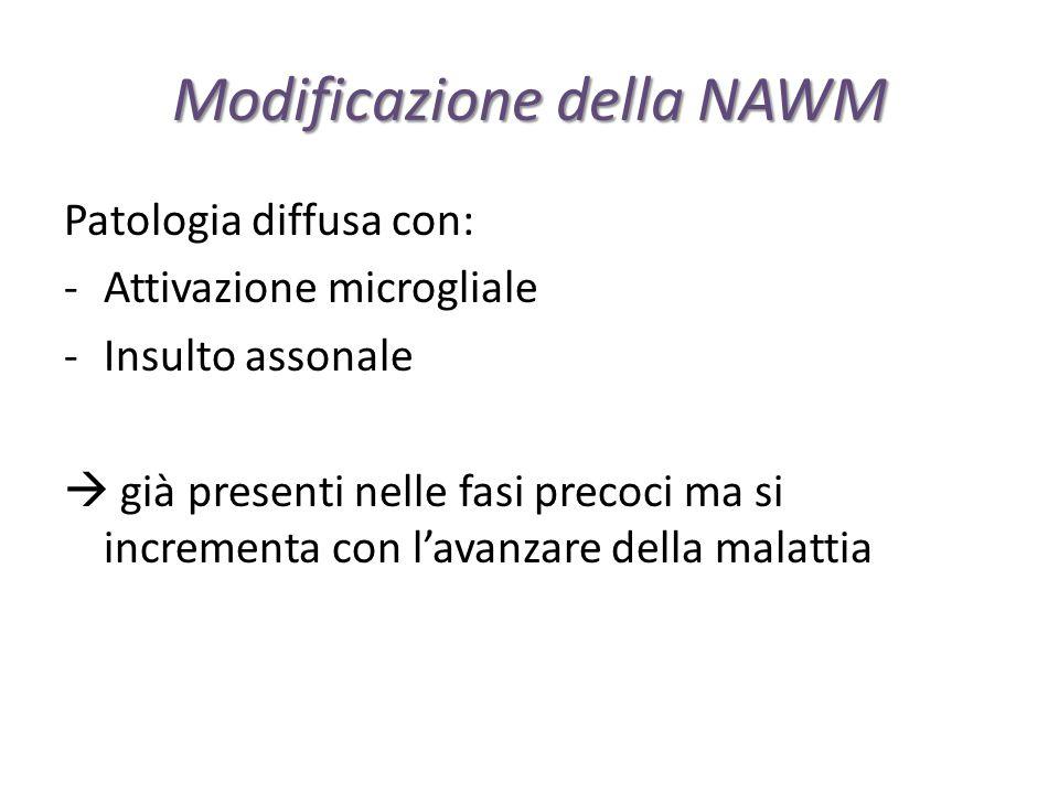 Modificazione della NAWM Patologia diffusa con: -Attivazione microgliale -Insulto assonale  già presenti nelle fasi precoci ma si incrementa con l'av