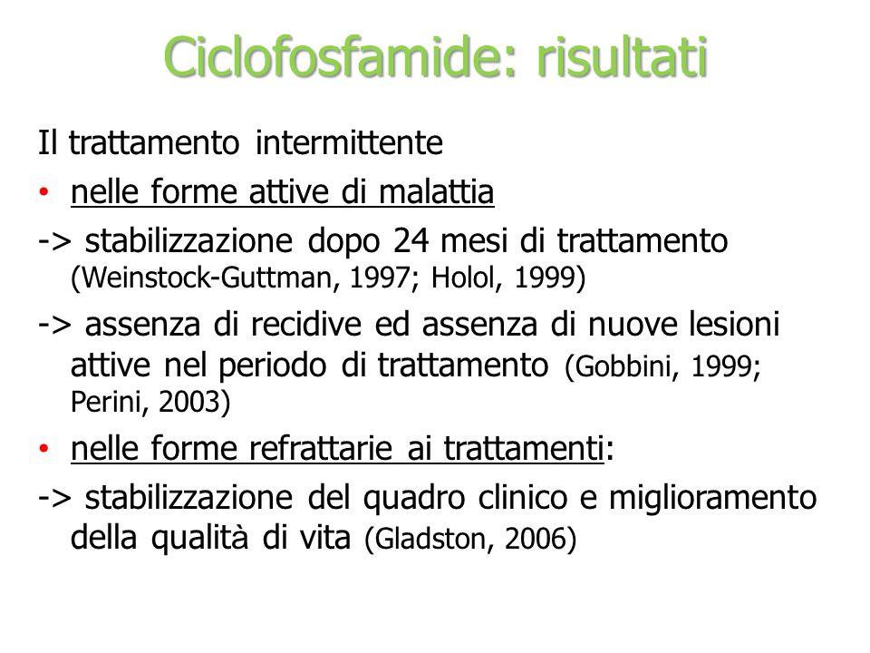 Ciclofosfamide: risultati Il trattamento intermittente nelle forme attive di malattia -> stabilizzazione dopo 24 mesi di trattamento (Weinstock-Guttma