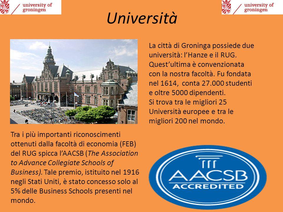 Università La città di Groninga possiede due università: l'Hanze e il RUG. Quest'ultima è convenzionata con la nostra facoltà. Fu fondata nel 1614, co
