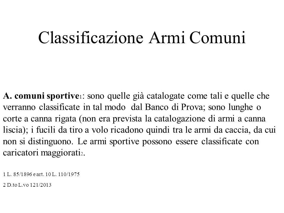 Classificazione Armi Comuni A. comuni sportive 1 : sono quelle già catalogate come tali e quelle che verranno classificate in tal modo dal Banco di Pr