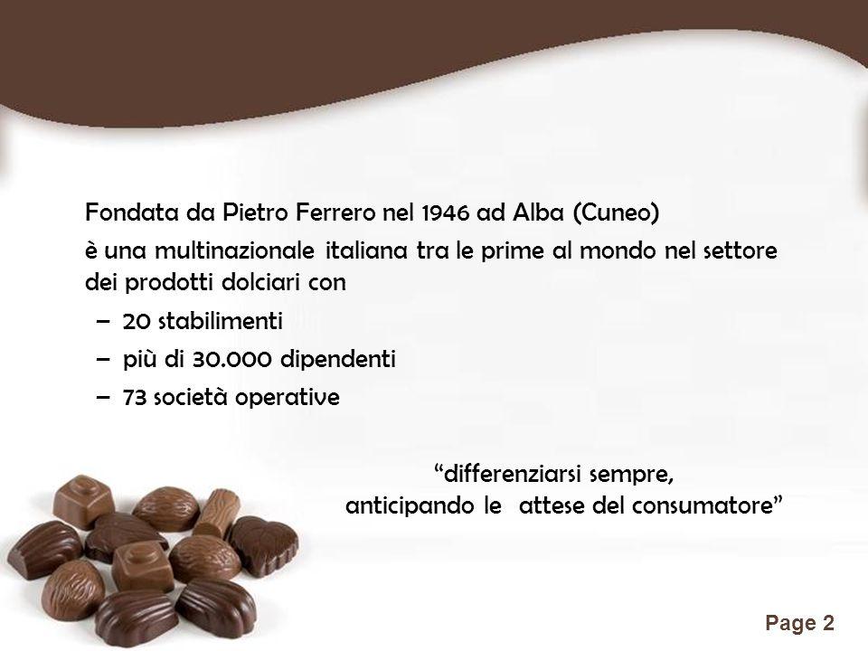Free Powerpoint Templates Page 2 Fondata da Pietro Ferrero nel 1946 ad Alba (Cuneo) è una multinazionale italiana tra le prime al mondo nel settore de