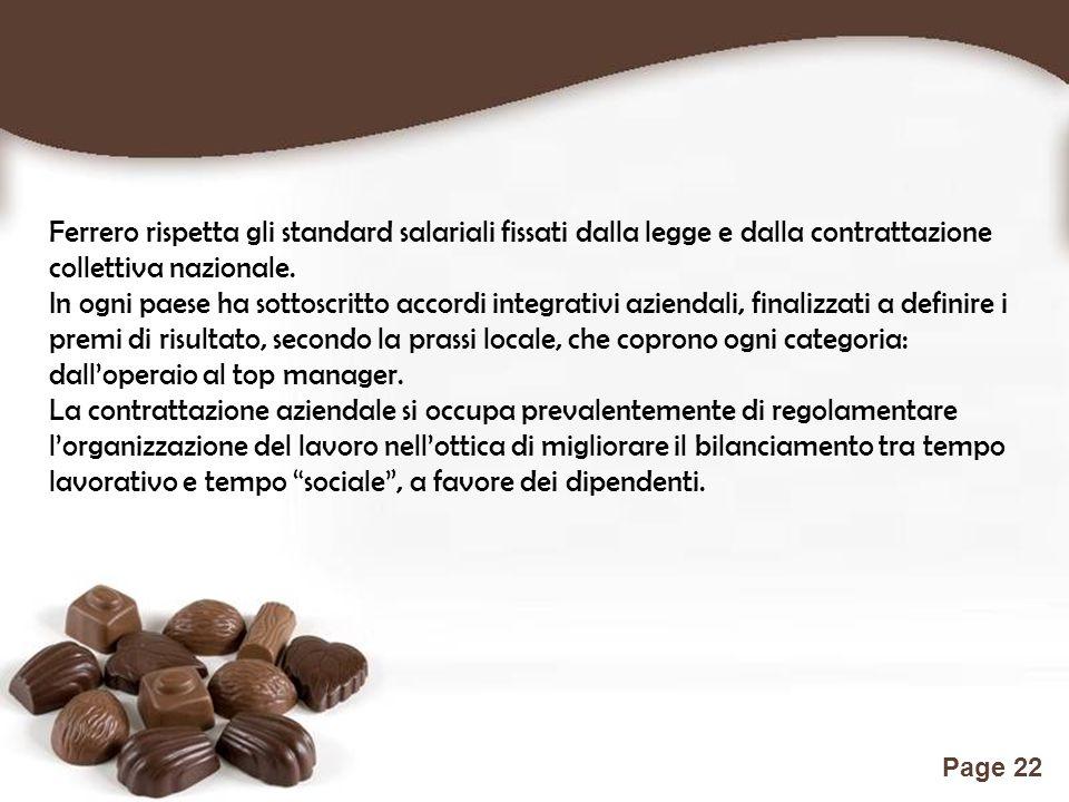 Free Powerpoint Templates Page 22 Ferrero rispetta gli standard salariali fissati dalla legge e dalla contrattazione collettiva nazionale. In ogni pae