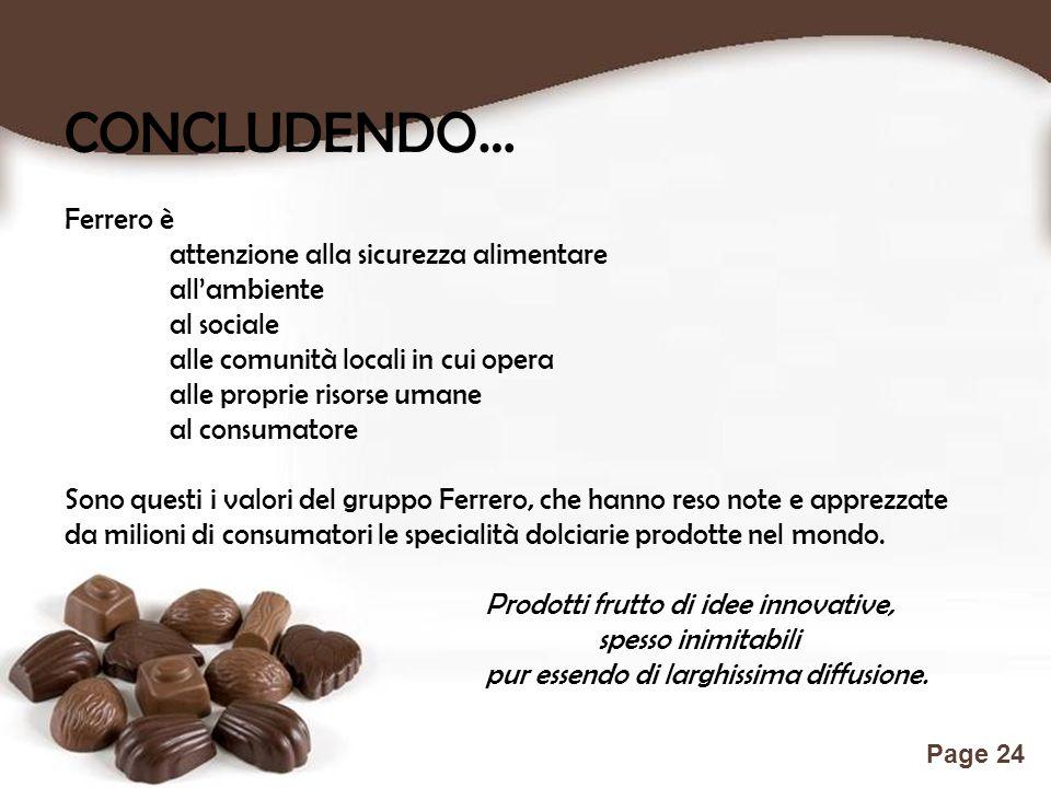 Free Powerpoint Templates Page 24 CONCLUDENDO… Ferrero è attenzione alla sicurezza alimentare all'ambiente al sociale alle comunità locali in cui oper