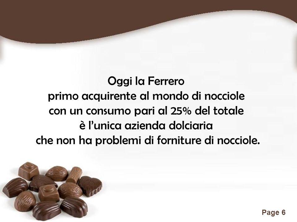 Free Powerpoint Templates Page 6 Oggi la Ferrero primo acquirente al mondo di nocciole con un consumo pari al 25% del totale è l'unica azienda dolciar