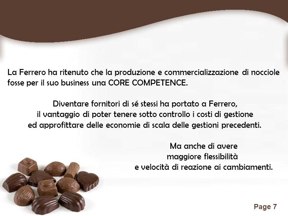 Free Powerpoint Templates Page 7 La Ferrero ha ritenuto che la produzione e commercializzazione di nocciole fosse per il suo business una CORE COMPETE