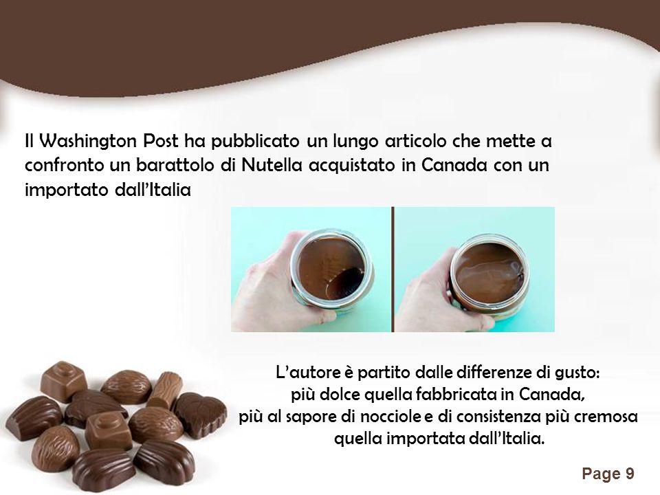 Free Powerpoint Templates Page 9 Il Washington Post ha pubblicato un lungo articolo che mette a confronto un barattolo di Nutella acquistato in Canada