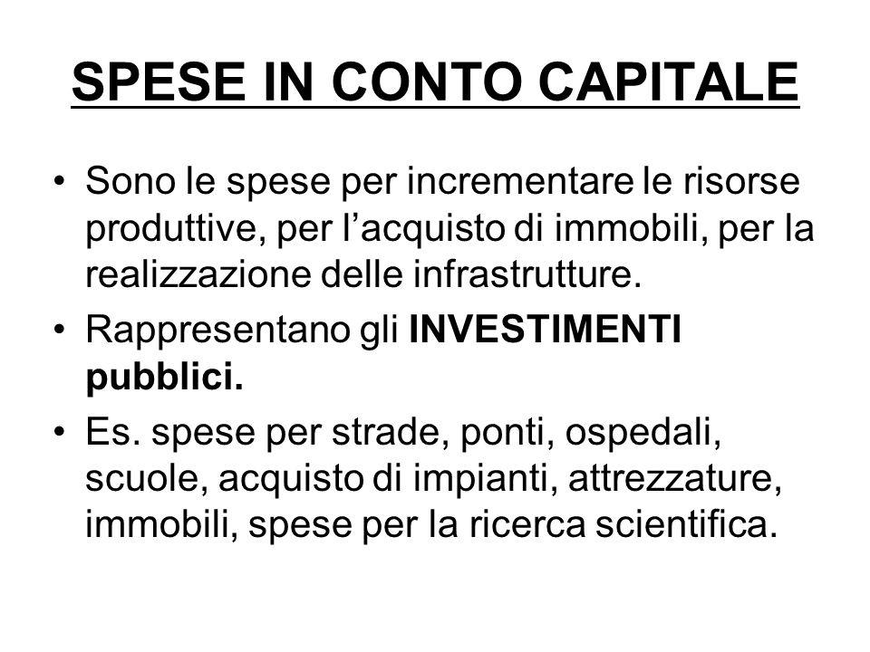 SPESE IN CONTO CAPITALE Sono le spese per incrementare le risorse produttive, per l'acquisto di immobili, per la realizzazione delle infrastrutture.
