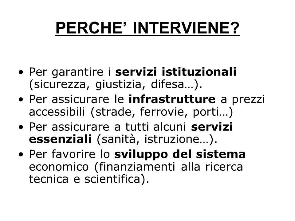 PERCHE' INTERVIENE.Per garantire i servizi istituzionali (sicurezza, giustizia, difesa…).