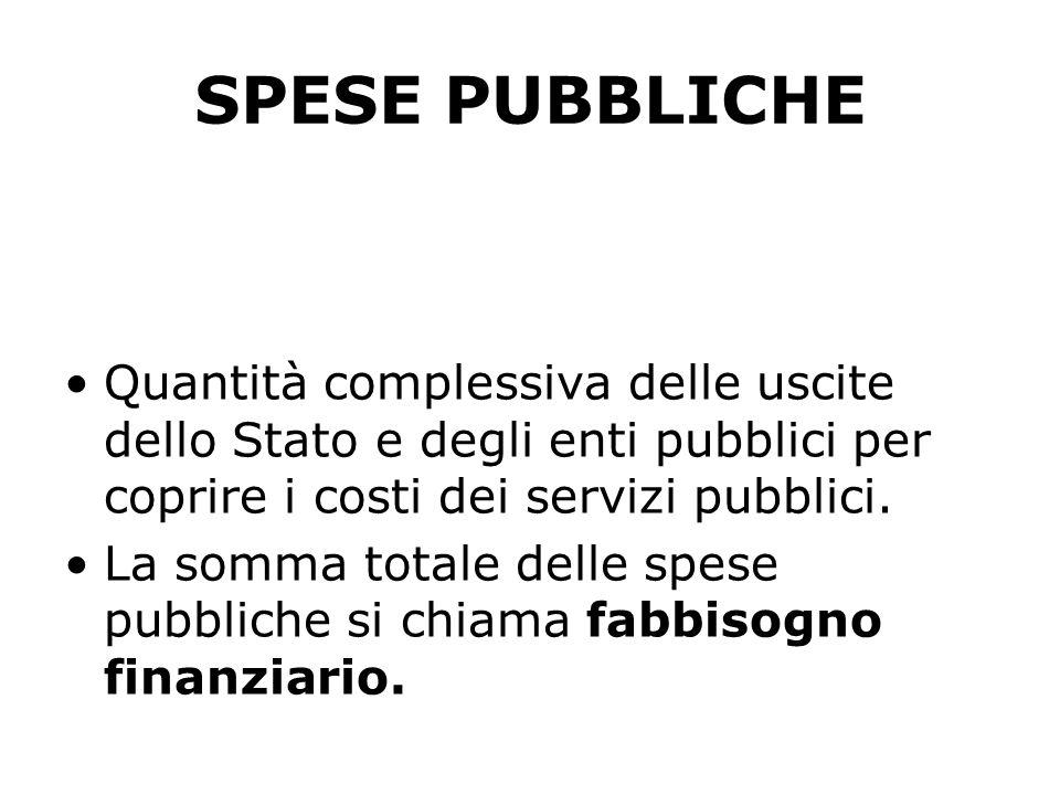 SPESE PUBBLICHE Quantità complessiva delle uscite dello Stato e degli enti pubblici per coprire i costi dei servizi pubblici. La somma totale delle sp