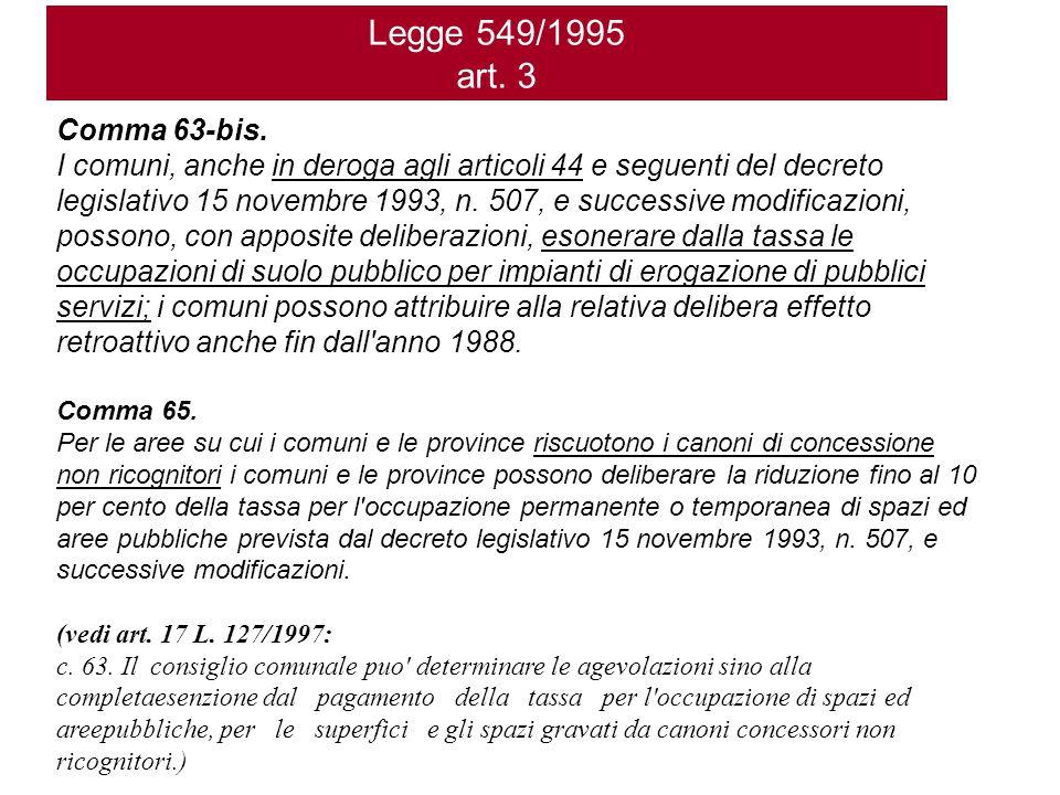 Legge 549/1995 art. 3 Comma 63-bis. I comuni, anche in deroga agli articoli 44 e seguenti del decreto legislativo 15 novembre 1993, n. 507, e successi