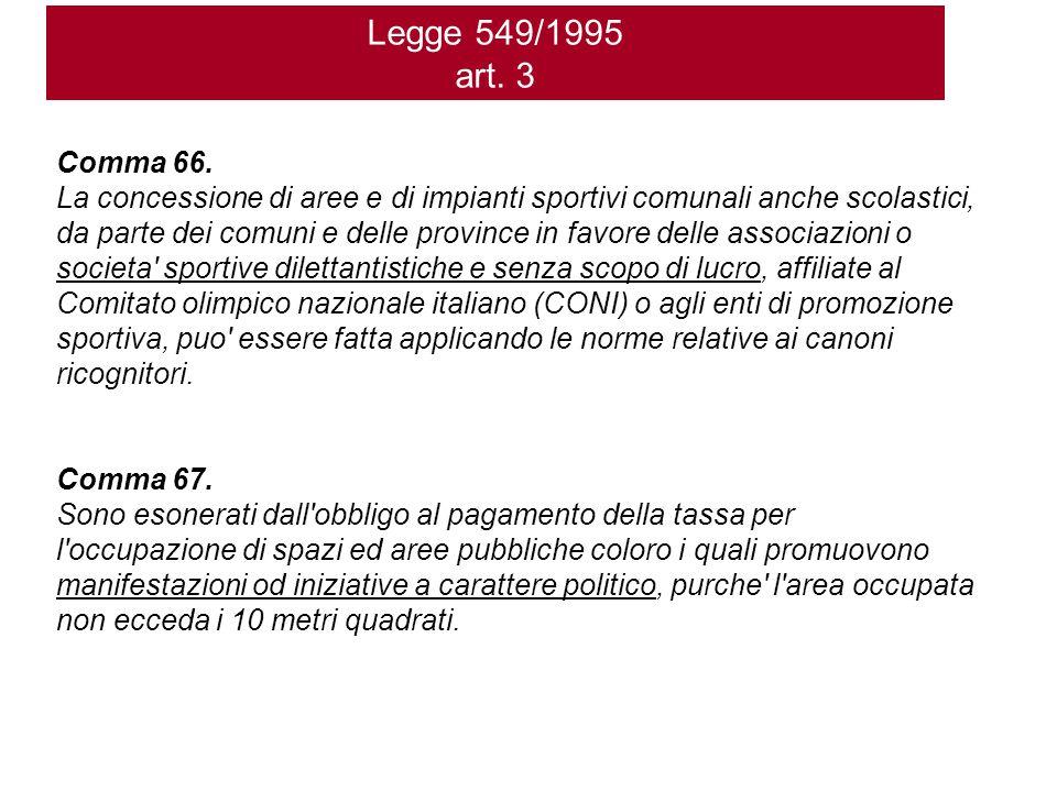 Legge 549/1995 art. 3 Comma 66. La concessione di aree e di impianti sportivi comunali anche scolastici, da parte dei comuni e delle province in favor