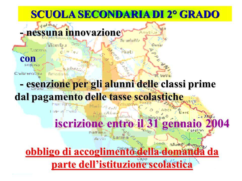 Isp. Marco Riva SCUOLA SECONDARIA DI 2° GRADO - nessuna innovazione - nessuna innovazione con con - esenzione per gli alunni delle classi prime dal pa