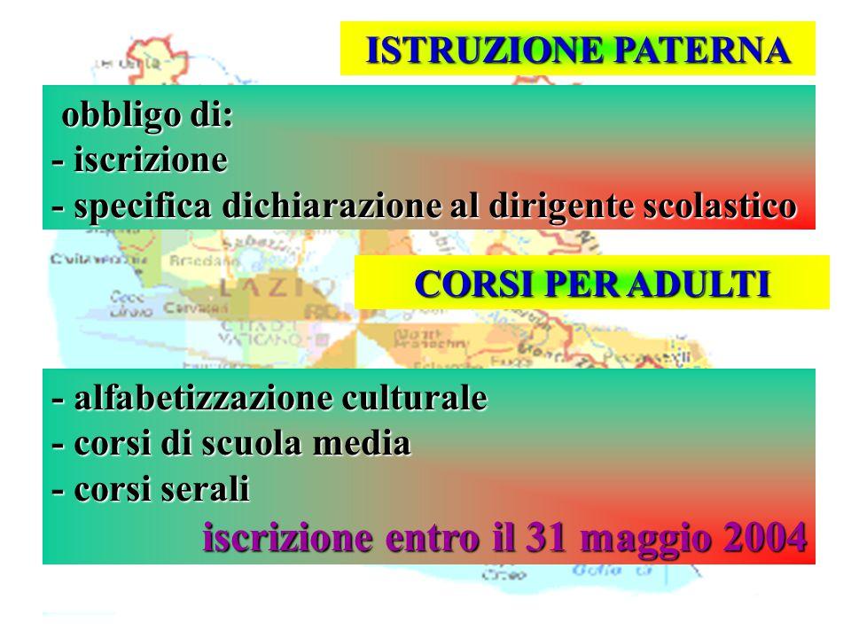Isp. Marco Riva ISTRUZIONE PATERNA obbligo di: obbligo di: - iscrizione - specifica dichiarazione al dirigente scolastico CORSI PER ADULTI - alfabetiz