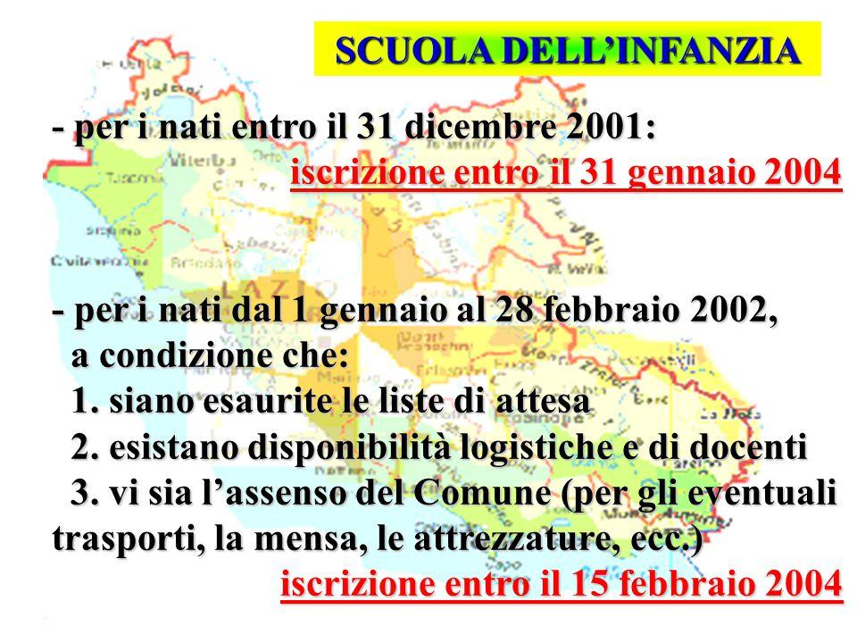 Isp. Marco Riva - per i nati entro il 31 dicembre 2001: iscrizione entro il 31 gennaio 2004 - per i nati dal 1 gennaio al 28 febbraio 2002, a condizio
