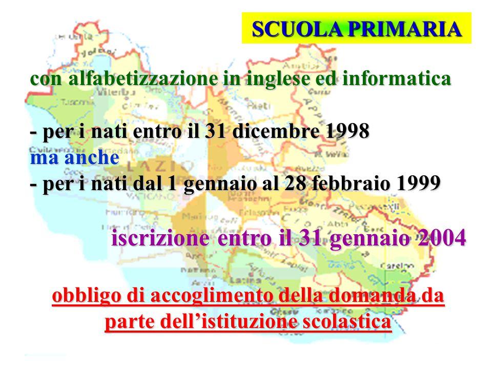 Isp. Marco Riva SCUOLA PRIMARIA con alfabetizzazione in inglese ed informatica - per i nati entro il 31 dicembre 1998 ma anche - per i nati dal 1 genn