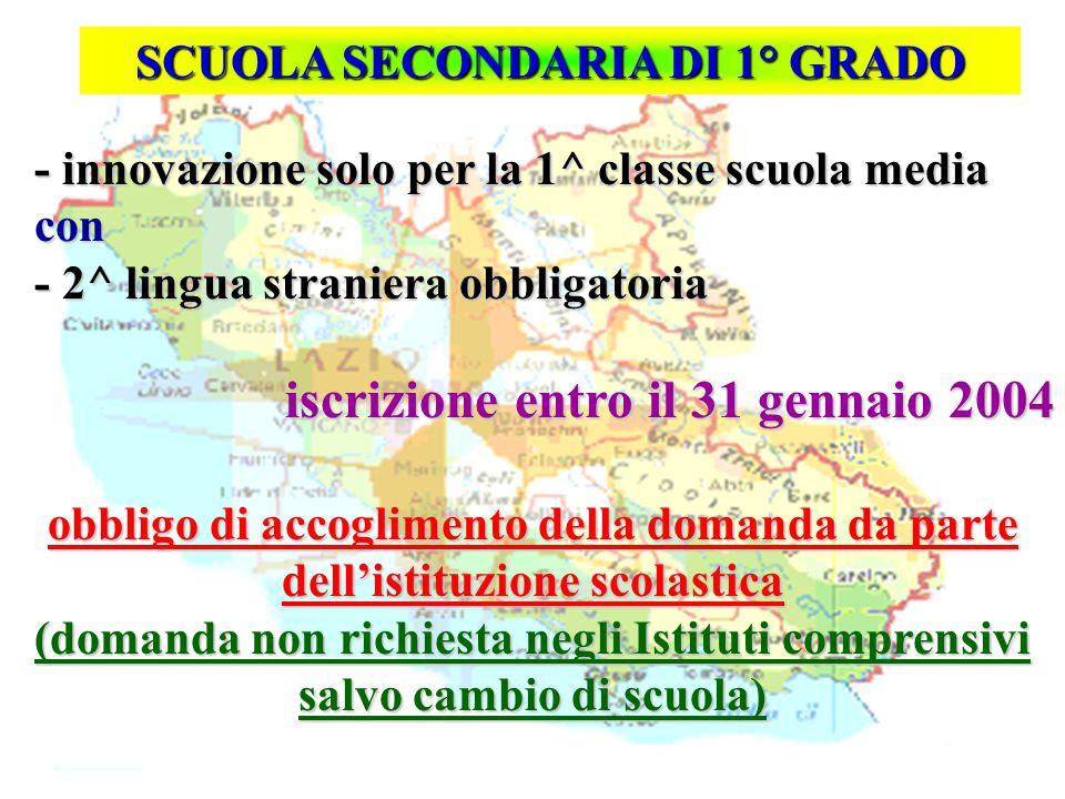 Isp. Marco Riva - innovazione solo per la 1^ classe scuola media - innovazione solo per la 1^ classe scuola media con con - 2^ lingua straniera obblig