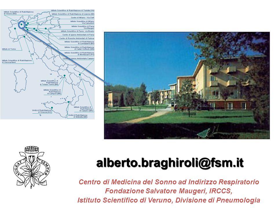alberto.braghiroli@fsm.it Centro di Medicina del Sonno ad Indirizzo Respiratorio Fondazione Salvatore Maugeri, IRCCS, Istituto Scientifico di Veruno,